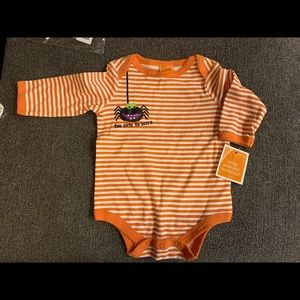 """3/$23 Halloween one piece, baby """"too cute to scare"""